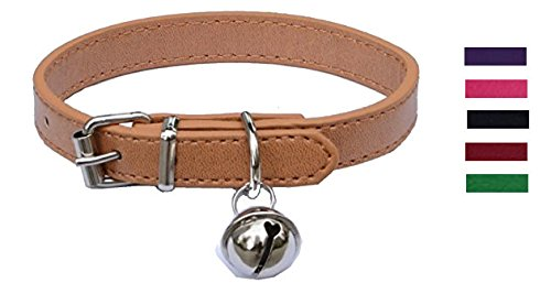 Beige Leather Pet collars for Cats,Baby Puppy Dog,Adjustable 8-10.5 Kitten Collar with Bell