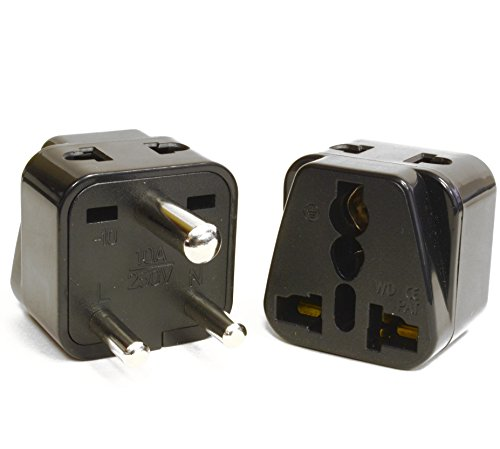Price comparison product image Orei P21-10-2PK 2 in 1 USA to India Adapter Plug (Type D) - 2-Pack, Black
