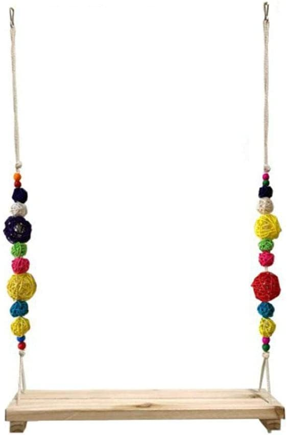 Chicken Swing for Hens and Toys,Colorful Handmade Wooden Perch with Bells,Parrot Swings for Birds Pet Trainning