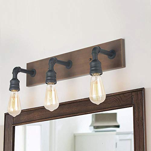 (LNC Bathroom Vanity Lights, Farmhouse Wood and Water Pipe Wall Sconces(3 Heads )A03376,)