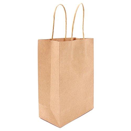 Dayhop 10Pcs Multicolor Paper Bag With Handles 21X15x8cm DIY Multifunction Festival Gift Bag Wedding Party Gift Kraft Paper Bags Khaki 21x15x8cm