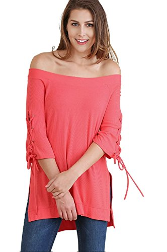 Umgee Women's Off The Shoulder High Low Bohemian Tunic Top with Drawstring Sleeves (1X, Strawberry) Drawstring Silk Tunic