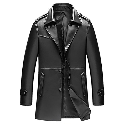 BINGKA Mens Faux Leather Jacket Motorcycle Rider Slim Long Jacket Trench Coat (Leather Trench Mens Long Coat)