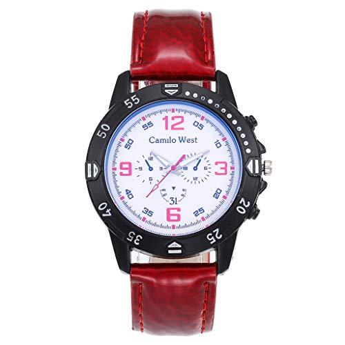 Luxury Layette - DOMUMY Business Wrist Watch!Fashion Luxury Quartz Watch Blue Glass Dial Casual Leather Belt Woman's Watch (Red)