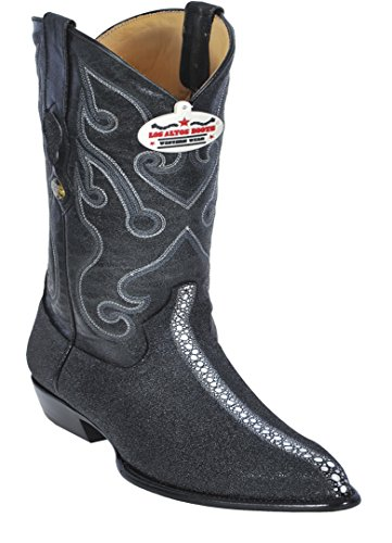 Men's J-Toe Black Genuine Leather Stingray Rowstone Print Western (Ray Western Print)