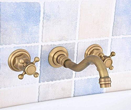 ZT-TTHG 蛇口3個アンティーク真鍮の壁は浴室のミキサーのタップバス盆地シンク化粧水タップシャワー蛇口をマウント