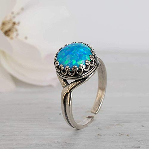 Iridescent Ring Copper Ring Opalite Ring September Birthstone Silver Ring