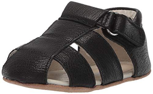 (Robeez Boys' Sandal-First Kicks Crib Shoe, Matthew Black, 9-12 Months)