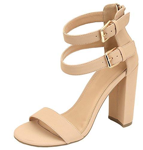 Cambridge Select Women's Open Toe Single Band Buckled Double Ankle Strap Chunky Block Heel Sandal (7 B(M) US, (Open Toe Single Band)