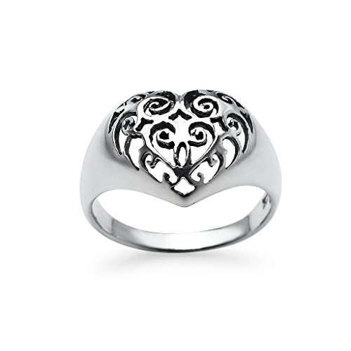 Sterling Silver Heart Flower Filigree Ring Thick Comfort Fit Promise Band Size 7 by Silverline Jewelry