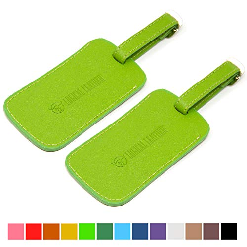 Logical Leather Luggage Tag Genuine Leather Travel ID Tags with Adjustable Leather Strap, Address Card and Privacy Cover, Lime, Set of 2
