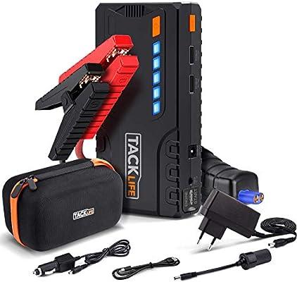 Tacklife T6 600 A kit de arrancador auxiliar, pico de 16500 mAh/batería portátil/gasolina de 6,2 l, gasóleo de 5,0 l/3 modos de iluminación led/Puerto de carga de 5 V/1 A 5 V/2