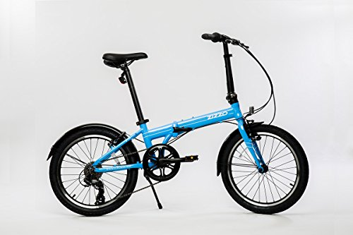 EuroMini Via 26lb Folding Bike-Lightweight Aluminum Frame Genuine Shimano 7-Speed 20' Folding Bike with Fenders (Sky Blue)