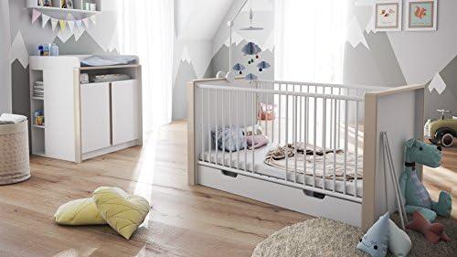 Chambre bébé enfant complète Ensemble Nandini Set 2 en Blanc mat avec des  bandeaux en Gris sable haute brillance