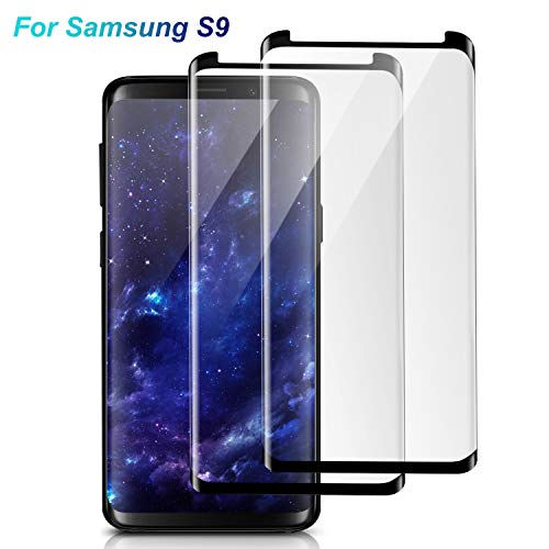 Galaxy S9 Screen Protector Glass, [Case Friendly] [3D Curved] [Anti-Scratch] [Anti-Bubble] Tempered Glass Screen Protector Samsung Galaxy S9 (2 Pack, Black)