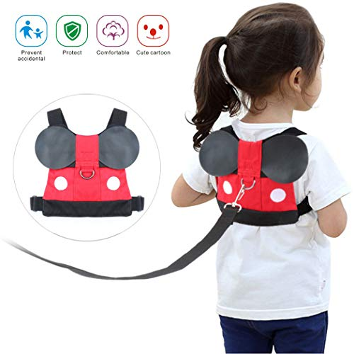 Idefair Kids Harness Kids Walking Leash Safety,Baby Anti Lost Safety Harness,Toddler Harness Safety Leashes for 1-5 Years Old Boys and Girls - Red