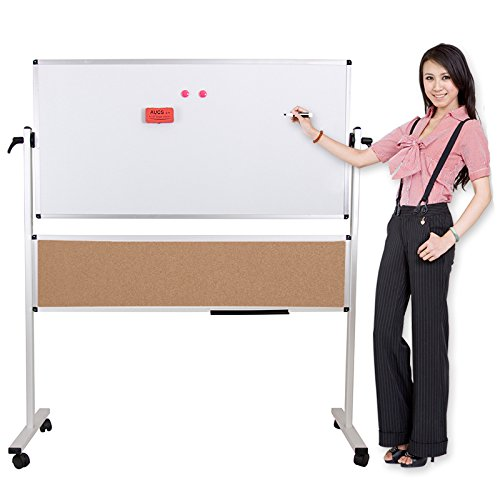 Viz-pro Double-sided Magetic Mobile Whiteboard, 48x36 Inches Plus 48x12 Inches, Aluminium Frame & Stand by VIZ-PRO