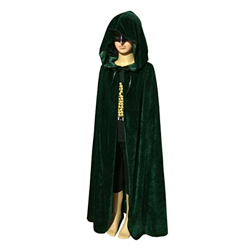 Unisex Kids Velvet Hooded Cloak Cape Christmas Decoration Party Role Cosplay Costumes (Medium(Length:80cm /31.50 inches), Green)