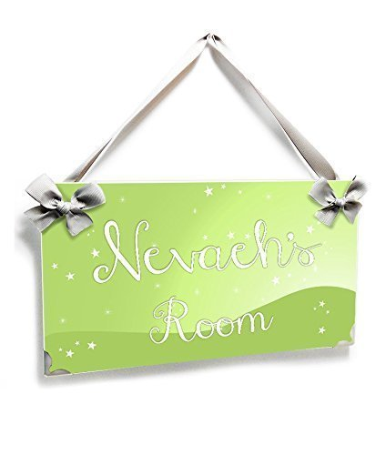 r Bedroom Name Door Sign Simple Green Accents Plaque with White Fairy Stars ()
