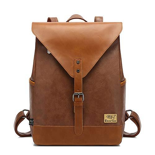 Zebella Vintage Vegan Leather Backpack for Women Men,Brown Faux Leather Laptop Backpack College School Bookbag Travel Daypack