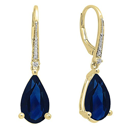 (Dazzlingrock Collection 14K 14X8 MM Each Pear Lab Created Blue Sapphire & Round Diamond Dangling Drop Earrings, Yellow Gold)