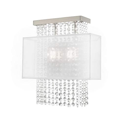 Livex Lighting 41120-91 Bella Vista - Two Light ADA Wall Sconce, Brushed Nickel Finish with Translucent Fabric Shade with Clear Crystal
