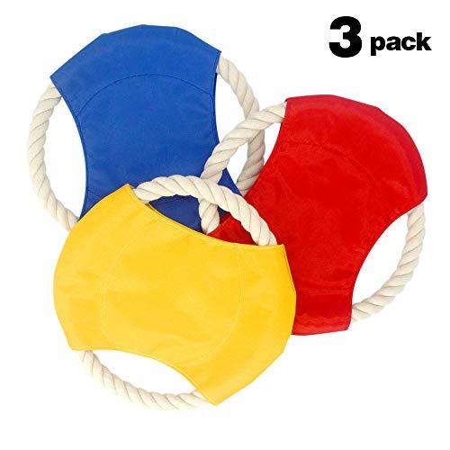 JIE KEN 3 Pack Flying Disc Set, Dog Rope Chew Toy, Flying Di