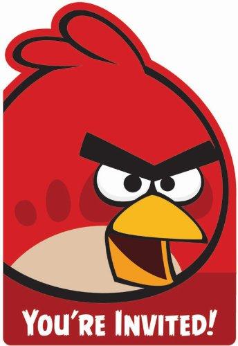 Angry Birds Invitations (8) Invites Birthday Party
