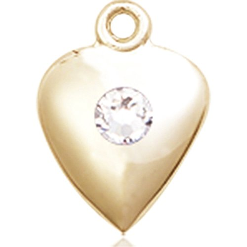 14kt Yellow Gold Heart Medal with 3mm April Swarovski Crystal 1 1/4 x 1 5/8 inches by Bonyak Jewelry Saint Medal Collection