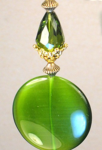 Olive Green Cat's Eye Coin Shape & Faceted Teardrop Glass Ceiling Fan Pull Chain (Fan Pull Teardrop)