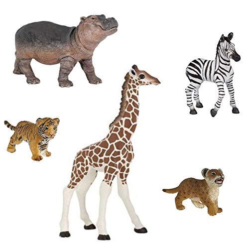 Papo Baby Wild Animal Figurine Bundle - Giraffe Calf, Tiger Cub, Lion Cub, Zebra Foal, Hippo Calf -