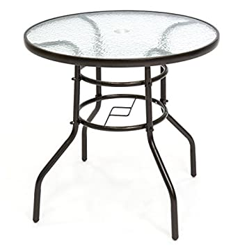 Best Choice Products Round 32-inch Tempered Glass Patio Dining Bistro Table with Umbrella Hole, Dark Brown