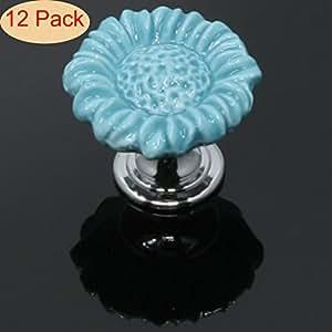 SunKni 37mm 12 Pack Ceramic Flower Knobs for Dresser Drawers Bathroom Cabinets Kitchen Cupboards - Super Sturdy & Smooth Floral Knob for Girls Kids (Sunflower, Blue)