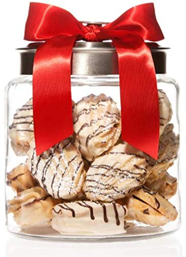 Gourmet White Chocolate Raspberry Cookie Gift Jar 12 cookies, Christmas, Holiday, Corporate Gifts in Fancy Jar, Thanksgiving, Halloween, Birthday or Get-Well Idea for Men & Women (Black Lid)