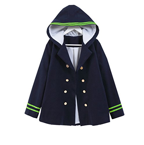 MaeFte Girl's Hoodie Sweater Double-Breasted Woollen Coat (Free Size, Navy Blue)