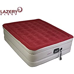 "Lazery Sleep Air Mattress – Raised Electric Airbed with Built in Pump & Carry Bag – Fast Inflation, LED Remote Control & 7 Firmness Settings –Queen 78"" x 58"" x 19"""