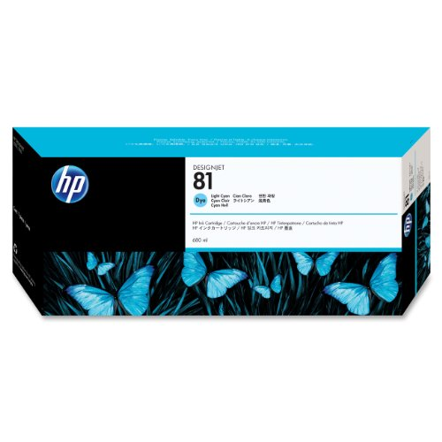 (HP 81 C4934A Ink Cartridge for DesignJet 5000 series, 680ml, Light Cyan)