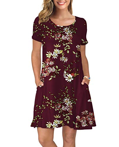 KORSIS Women's Summer Floral Dresses T Shirt Dress Flower Wine Red S