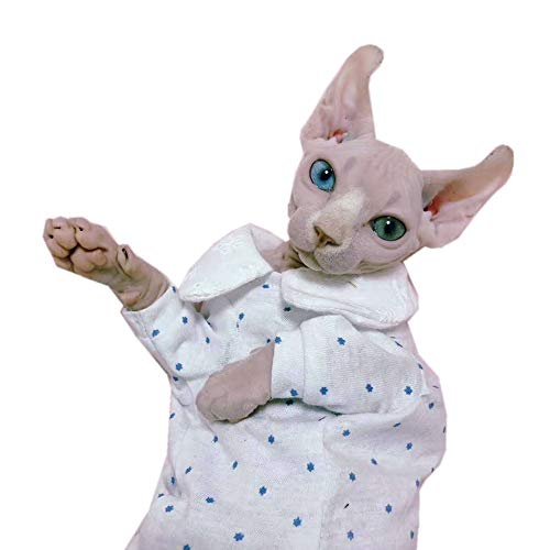 Sphynx Hairless Cat Cute Breathable Summer Cotton Dress Skirt Shirts Pet Clothes,Round Collar Kitten T-Shirts with…