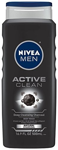 Cool Body Wash - NIVEA FOR MEN Body Wash Active Clean 16.9 oz (Pack of 4)