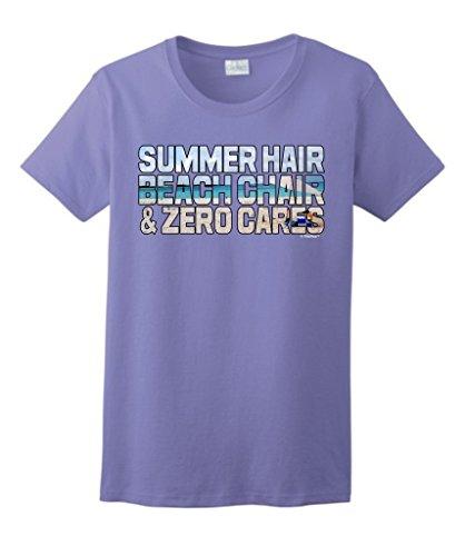 Beach Theme Gift Summer Hair Beach Chair Zero Cares Ladies T-Shirt 2XL Violt