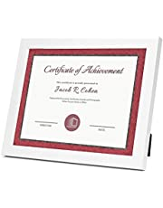 Frametory Document / Diploma Table-Top Frame for 8.5x11 Picture & Real Glass (White)