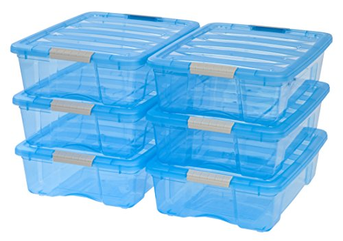 Stack Tote Lids - IRIS 26 Quart Stack & Pull Box, 6 Pack