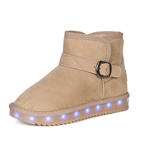 Performances-Kids USB Charging Light Up Shoes Christmas Gift LED Light Snow Boots For Boys Girls (Brown-3 M US Little Kid) (Of O12 Christmas Days)