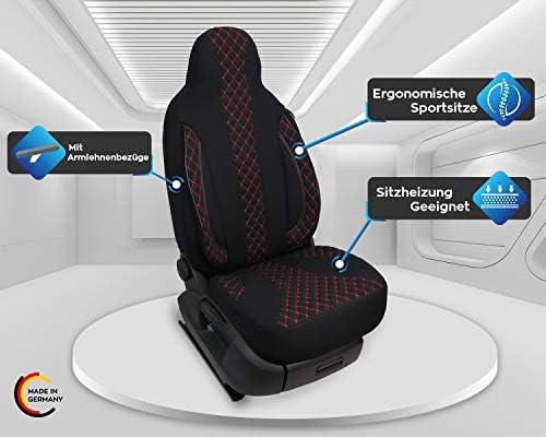 Maß Sitzbezüge Kompatibel Mit Wohnmobil Fahrer Beifahrer Fb Pl402 Schwarz Rote Naht Auto
