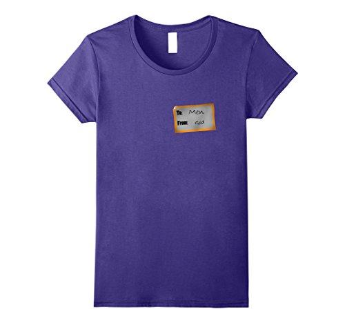 Womens God's Gift to Men Halloween Costume T-shirt Large Purple