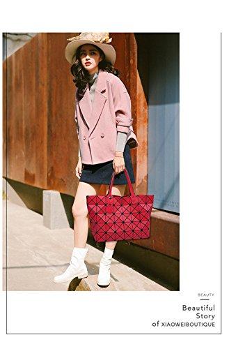 Bag Handle Geometric Women Shoulder Handbag Metal Bag Bag Shoulder Drawing Folding Tote Fashion Matt Casual Bag Red OwBxHqYP