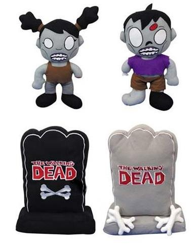 "The Walking Dead 11.5"" Plush 4 Piece Zombie Set - Includes 1 Male Zombie, 1 Female Zombie, One Grey, and One Black Tombstones with the Walking Dead Logo"