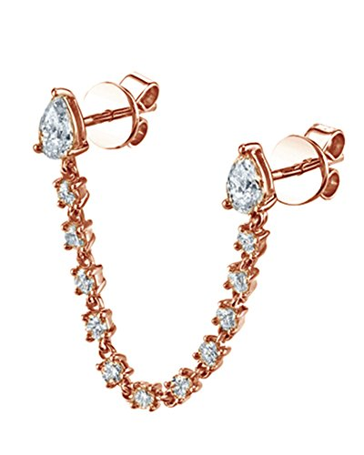 Cyber Monday Deals 18K Rose Gold Over Sterling Silver White Cubic Zirconia Double Piercing Pear Loop Single Earring