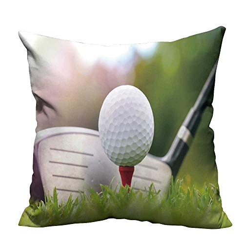 YouXianHome Household Pillowcase Golf Club and Ball in Grass Perfect for Travel(Double-Sided Printing) 21.5x21.5 inch (The Simpsons Golf Club Covers)